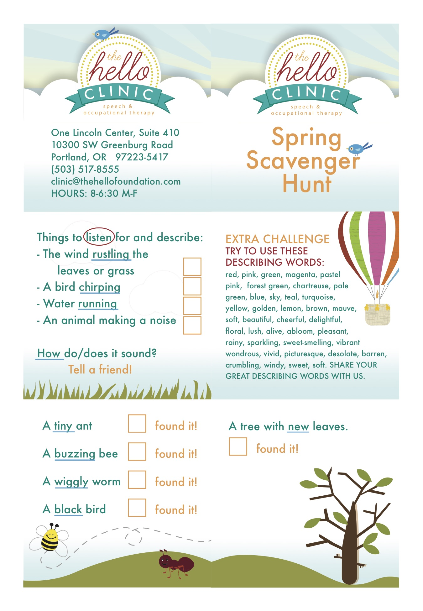 speech language scavenger hunt