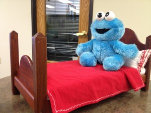Cookie Monster is ready for Pajama Week at The Hello Clinic.