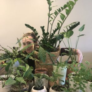 SLP Laura with the plants she had grown
