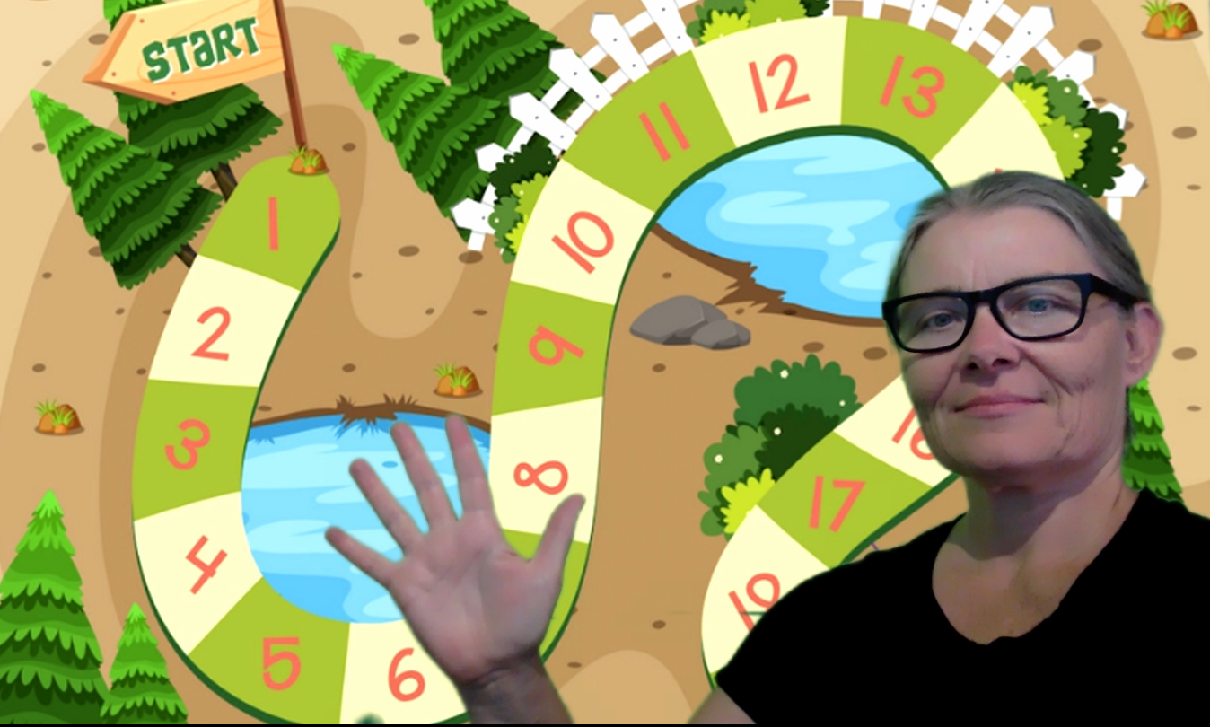 helen with game Virtual background for speech therapy