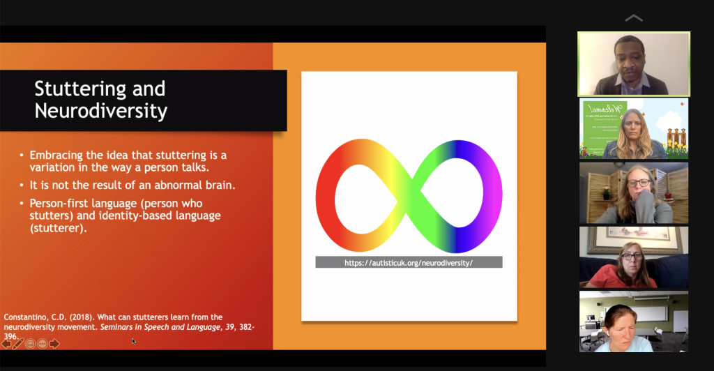 screen shot of stuttering neurodiversity slide and zoom call participants
