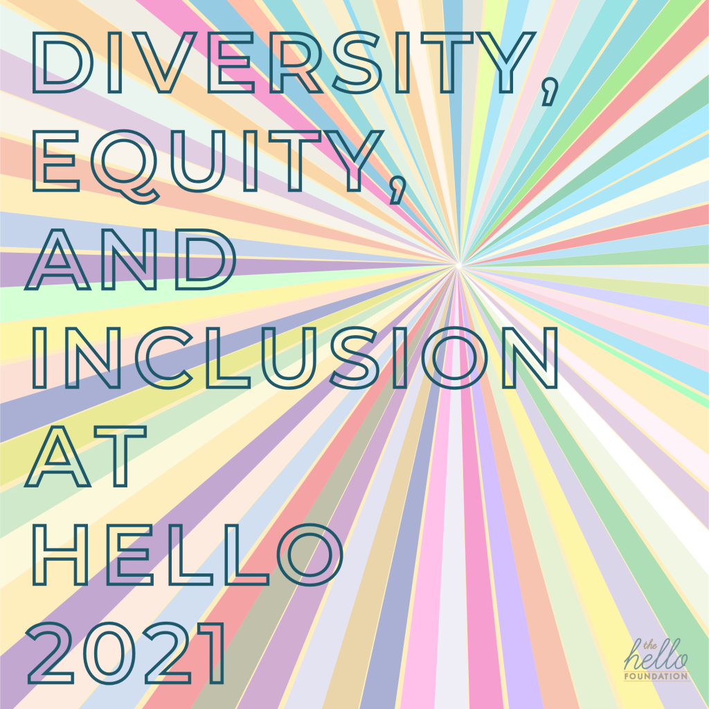 """rainbow starburst with words """"diversity equity and inclusion at hello 2021"""" overlaid"""