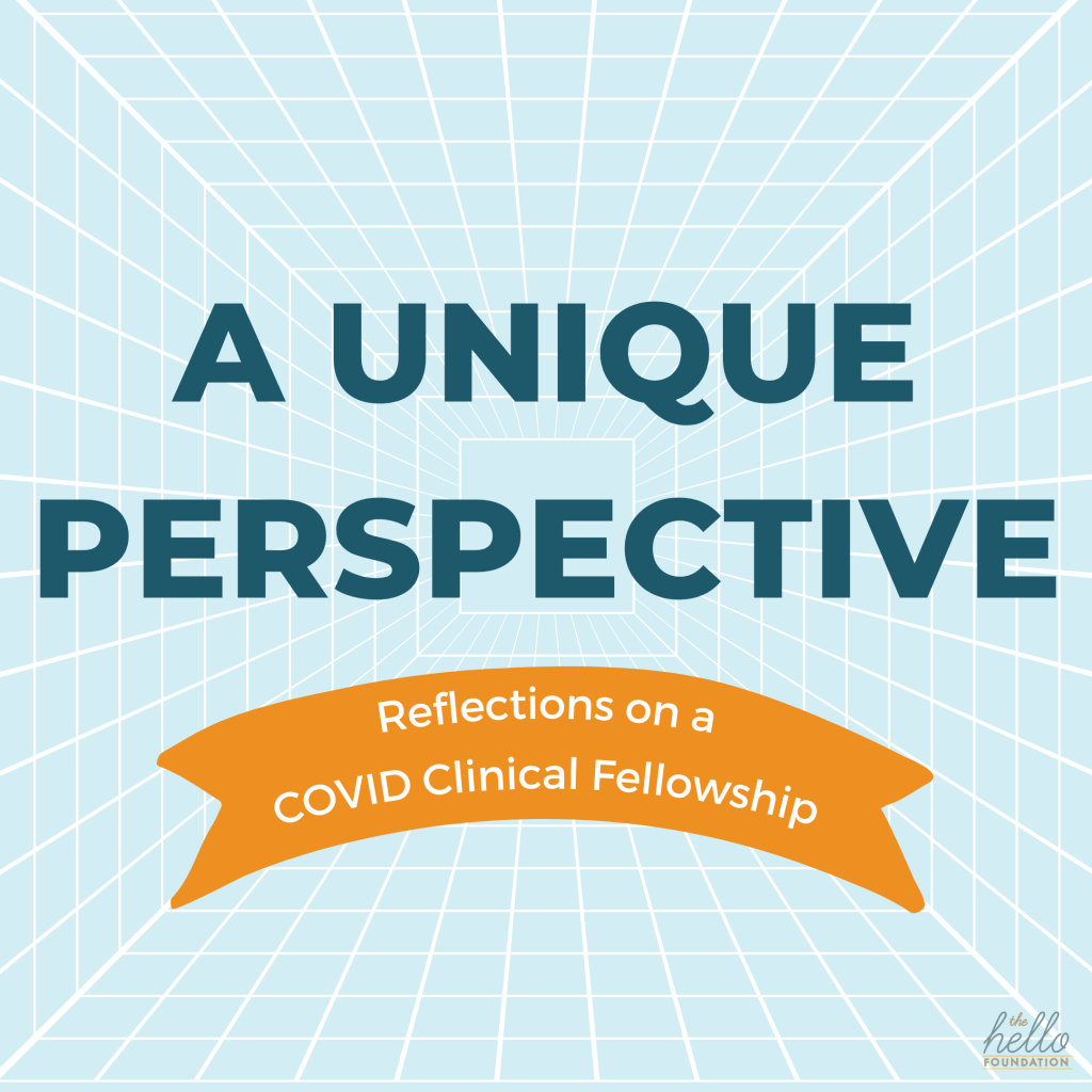 """white grid on a light blue background with """"a unique perspective reflections on a covid clinical fellowship"""" text"""