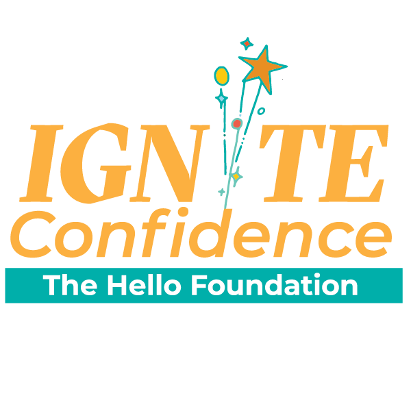 """the words """"ignite confidence"""" written in yellow, with fireworks replacing the second i in """"ignite;"""" the hello foundation written below in a teal-colored rectangle"""